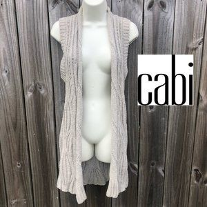 Cabi Wool Cable Knit Open Cardigan XS